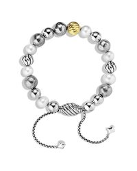 David Yurman - Metallic Dy Elements Bracelet With Pearls And 18k Gold, 8mm - Lyst