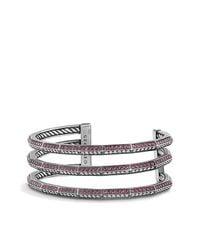David Yurman - Red Stax Three-row Pave Bracelet With Ruby And Diamonds, 22mm - Lyst