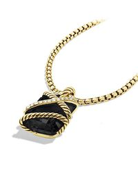 David Yurman - Cable Wrap Pendant With Black Onyx And Diamonds In 18k Gold - Lyst