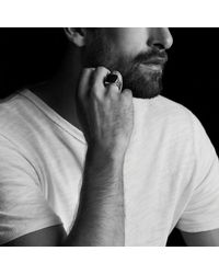 David Yurman - Knife-edge Signet Ring With Black Diamonds for Men - Lyst
