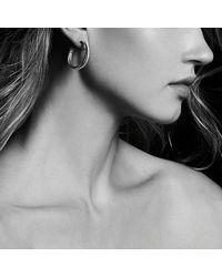 David Yurman - Metallic Crossover Medium Hoop Earrings With Diamonds In 18k Gold - Lyst