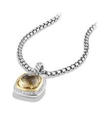 David Yurman - Metallic Albion® Pendant With Champagne Citrine, Diamonds And 18k Gold, 11mm - Lyst