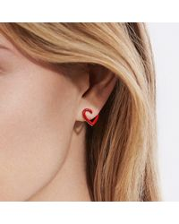 David Yurman - Cable Heart Earrings In Red Enamel And 18k Gold - Lyst