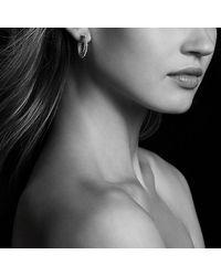 David Yurman - Stax Hoop Earrings With Diamonds In 18k White Gold - Lyst
