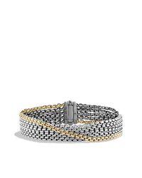 David Yurman - Metallic Chain Five -row Bracelet With 18k Gold, 16mm - Lyst