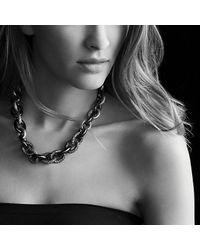 David Yurman - Blue Midnight Mélange Oval Link Necklace With Black And White Diamonds - Lyst