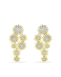 David Yurman | Metallic Starburst Cluster Earrings With Diamonds In 18k Gold | Lyst
