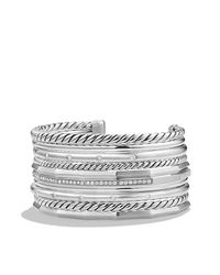 David Yurman - Metallic Stax Wide Cuff Bracelet With Diamonds, 29.5mm - Lyst