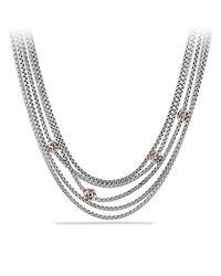 David Yurman | Renaissance Toursade Necklace With Pink Tourmaline, Rhodalite Garnet And 18k Gold | Lyst