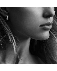 David Yurman - Metallic Petite Pavé Huggie Hoop Earrings With Gray Diamonds - Lyst