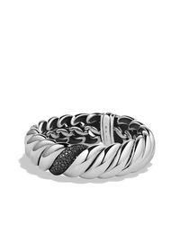 David Yurman - Hampton Cable Narrow Bracelet With Black Diamonds - Lyst