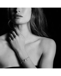 David Yurman   Metallic Cable Collectibles Lock And Key Charm Bracelet With Diamonds   Lyst