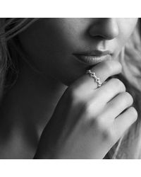 David Yurman | Metallic Venetian Quatrefoil Stacking Ring With Diamonds In 18k Gold | Lyst