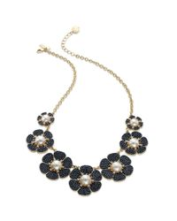kate spade new york - Blue New York Goldtone Navy Bead Imitation Pearl Floral Graduated Necklace - Lyst