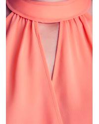 Bebe - Pink Surplice Halter Top - Lyst