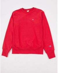 Champion | Reverse Weave Crew Neck Sweatshirt Red for Men | Lyst