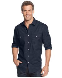 Alfani - Blue Big And Tall Long Sleeve Warren Shirt for Men - Lyst