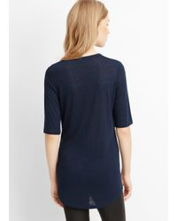 Vince - Blue Textured Jersey Elbow Sleeve Tee - Lyst