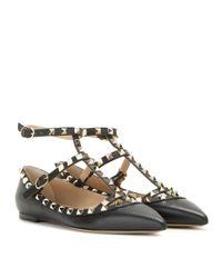 Valentino   Black Rockstud Grained-Leather Ballet Flats    Lyst