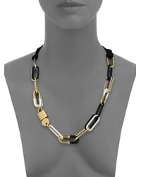 Marc By Marc Jacobs - Black Padlock & Key Bubble Link Necklace - Lyst