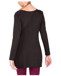 Jane Norman - Black Slinky Drape Front Top - Lyst