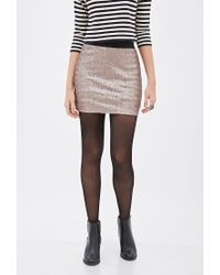 e7548a4a8d Lyst - Forever 21 Contemporary Sequined Mini Skirt in Metallic