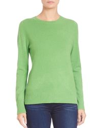 Saks Fifth Avenue | Green Cashmere Crewneck Sweater | Lyst