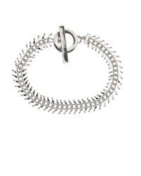 Anne Klein | Metallic Silvertone Chain Link Toggle Bracelet | Lyst