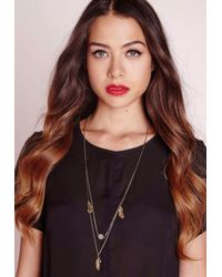 Missguided - Metallic Feather Delicate Layered Necklace Gold - Lyst