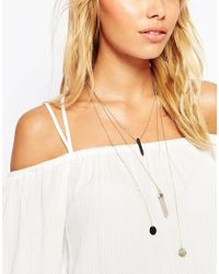 ASOS | Metallic Flat Shard And Disc Multirow Necklace | Lyst
