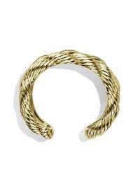 David Yurman - Metallic Woven Cable Wide Cuff in Gold - Lyst