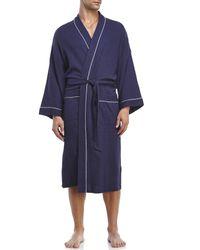 Geoffrey Beene - Blue Waffle Knit Robe for Men - Lyst
