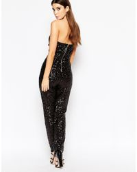 TFNC London - Black Bandeu Jumpsuit In Allover Sequin - Lyst
