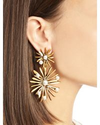 Oscar de la Renta - Metallic Russian Gold & Pearl Starburst Drop Earrings - Lyst