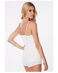Missguided - Lintley Chiffon Strappy Romper White - Lyst