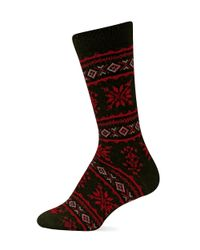 Ralph Lauren | Red Angora Fair Isle Snowflake Polo Boot Socks | Lyst
