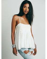 Free People - White Fp One Womens Fp One Embroidered Crochet Swing Tank - Lyst