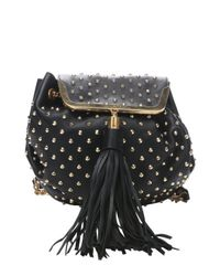 Alexander McQueen - Black Leather Studded Tassel Shoulder Bag - Lyst