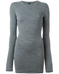 JOSEPH - Gray Crew Neck Sweater - Lyst