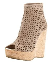 Jimmy Choo - Natural Paw Perforated Suede Corkwedge Bootie - Lyst