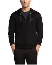 BOSS Green - Black Hooded Sweatshirt Jacket 'saggy 1' In Cotton Blend for Men - Lyst