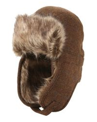 Ben Sherman | Brown Trapper Hat With Faux Fur Lining for Men | Lyst