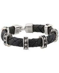 King Baby Studio - Black Small Braided Leather Bracelet W/ Mb Cross Stations And Square Hook Clasp - Lyst