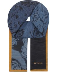 Etro | Linen-silk Floral-print Scarf, Men's, Blue for Men | Lyst