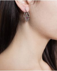 Sabine G - Pink 18k Rose Gold, Ruby And Diamond Earrings - Lyst