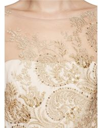Notte by Marchesa | Natural Metallic Embroidery Tulle Gown | Lyst