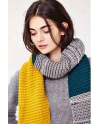 Urban Outfitters | Green Colorblock Seed Stitch Scarf | Lyst