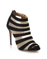 Aquazzura | Black Wild Side Suede and Mesh Sandals | Lyst