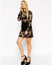 ASOS | Black Crochet Tunic Dress With Long Sleeves | Lyst