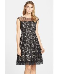 Eliza J | Black Illusion Yoke Lace Fit & Flare Dress | Lyst